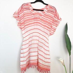 ATHLETA Coral Striped Fringe Beach Cover Up Dress